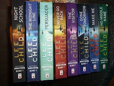 LEE CHILD Jack Reacher job lot collection of 8 paperback books incl night school