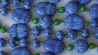 Antique Art Deco Vintage Egyptian Revival Max Neiger Blue Glass Scarab Necklace