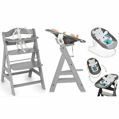 Hauck Alpha+B 4In1 Highchair/lowchair/adult Chair & Bouncer Grey Hearts Silver