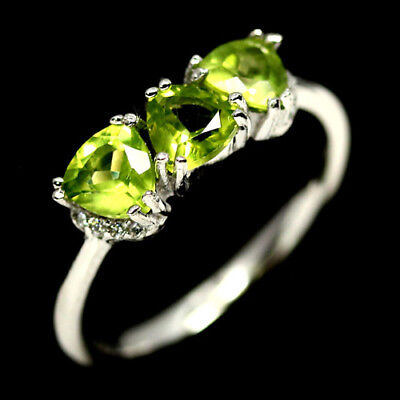 Natural Green Peridot Ring 925 Silver Sterling White Gold Plated Sz6.75