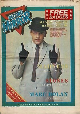 RECORD MIRROR  SEPTEMBER 19 1981 ~ Suggs Cover ~ Madness ~ Stones ~ Bolan