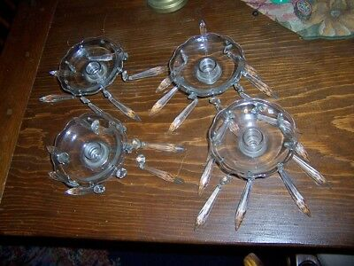 vtg  Crystal Candleholder Candlabra Insert Bobeche  prisms cambridge or lot of 4