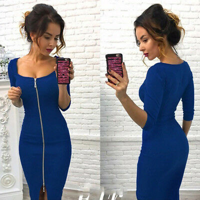 Women Bandage Bodycon Long Sleeve Zipper Sexy Party Celebrity Causal Dress LG