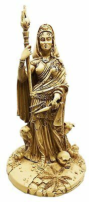 White Hecate Goddess w Dogs and Staff Patroness of Witchcraft Statue Sculpture