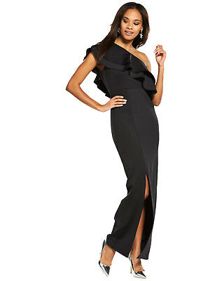 V by Very Frill One Shoulder Maxi Dress in Black Plus Size 20