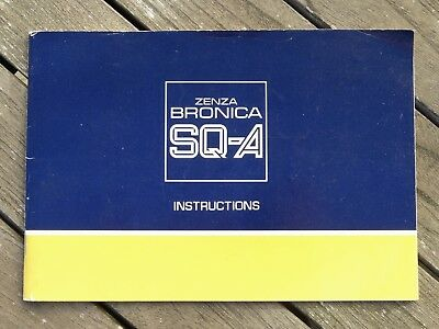 Bronica SQ-A Instruction Manual - Original not a copy - Free UK Postage