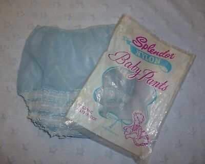 Vintage Frilly Plastic Baby Pants Soft translucent Blue Plastic Frilly Bottom
