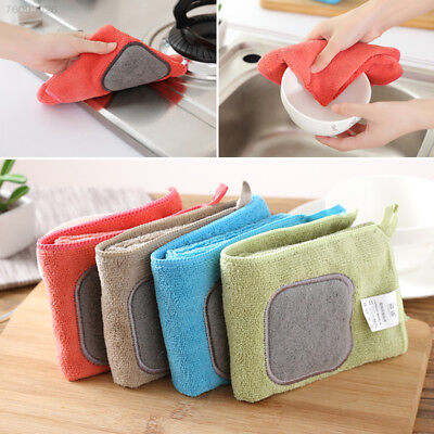 1F75 Hanging High Absorbent Microfiber Kitchen Wiping Rags Dish Towel Washing To