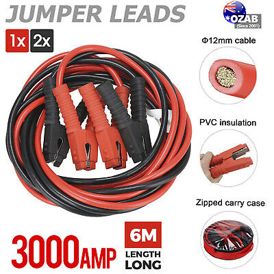1/2x 3000AMP Jumper Leads 6M Long Heavy Duty Jump Booster Cables AU