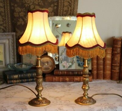 A Pair of Vintage French Bronze Brass Bedside Side Table Lamps with Shades