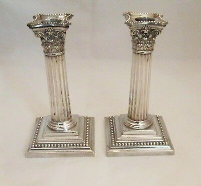 Small 19th Century Pair of Silver Plated Candlesticks Corinthian Columns by Hodd