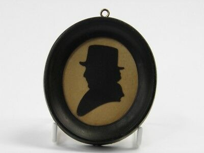 Antique late 19th century silhouette paper cut miniature portrait gentleman