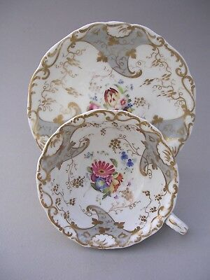 Unmarked 19Th Century Hand Painted Cup And Saucer