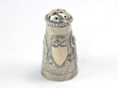 Antique late 19th century Indian silver pepper pot pepperette embossed landscape