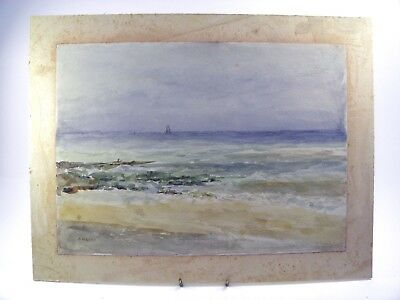 Antique late 19th century watercolour painting coastal seascape by A M Lucas