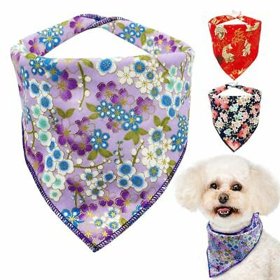 Puppy Scarf Soft Cotton Dog Bandana Collar Soft Cute Adjustable Flowered Neck