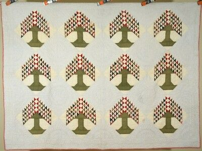 """WELL QUILTED Vintage 1890's """"Tree of Paradise"""" Antique Quilt ~SMALL PIECES!"""