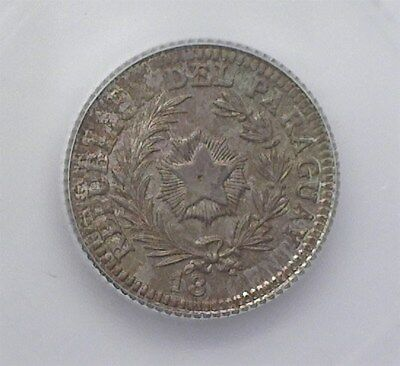 PARAGUAY 18XX SILVER 20 CENTS ON ARGENTINA 20c KM#27 -PATTERN DIE- ICG MS65 RARE