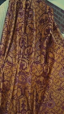 100 cm remnant piece GOLD Toile de Jouy COTTON VELVET Upholstery Curtain Fabric