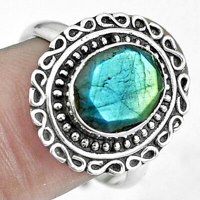 925 Sterling Silver Natural Blue Labradorite Oval Ring Jewelry Size 8 M67440