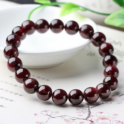 Genuine 8MM Natural Red Garnet Round Gemstone Beads Stretch Bracelet Bangle