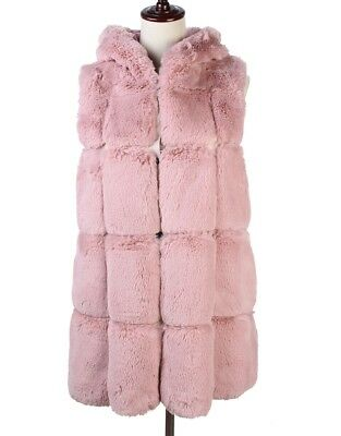 LeahWard Women's Big Checked Faux Fur Hooded Gilets Girls Sleeveless Warm Vest