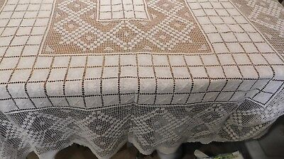 Vintage Hand Knotted Filet Lace Taglecloth  Eggshell White 62X76 Cotton