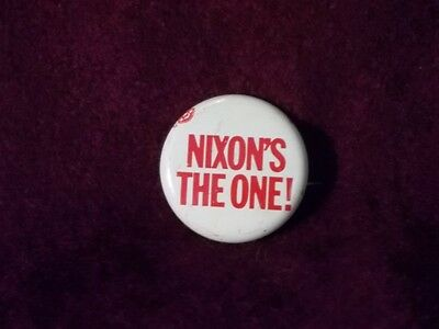 Richard Nixon's The One Vintage 1968 Political Campaign Pinback Pin Badge Button