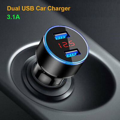 Dual USB 3.1A Car Cigarette Charger Lighter 12V/24V LED Digital Voltmeter UK