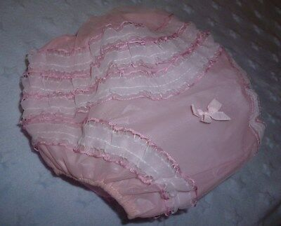 Vintage Frilly Plastic Baby Pants Pink & White Frills on Legs & Bottom