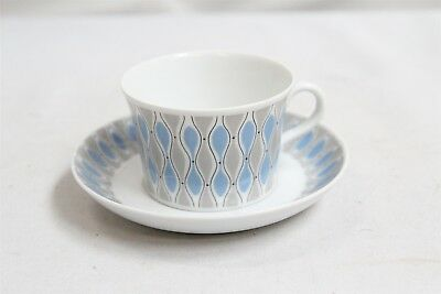 MCM Upsala Ekeby Karlskrona Connected Egg Abstract Pottery Cup & Saucer #2