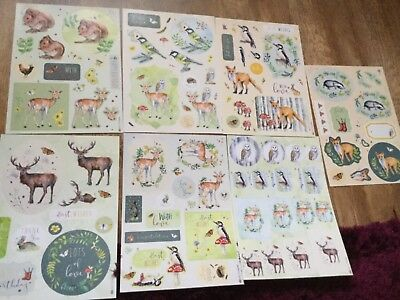 Kathryn Coyle WOODLAND LODGE 7 x A4 decoupage sheets. New