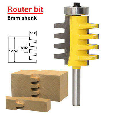 1/4 Inch 8mm Shank Adjustable Box & Finger Joint Router Bit Woodwork Cutter Tool