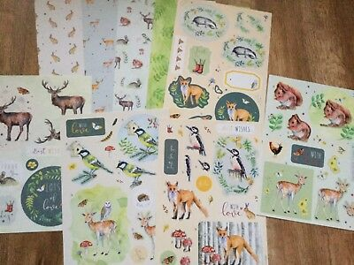 Kathryn Coyle WOODLAND LODGE 5 x A4 decoupage sheets & 4x A4 papers New