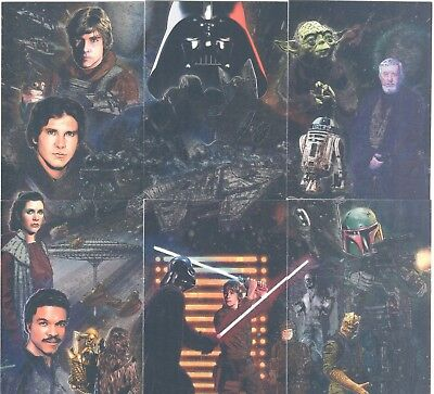 Star Wars Galaxy 5 Complete 6 Card Etched Foil Puzzle Chase Set