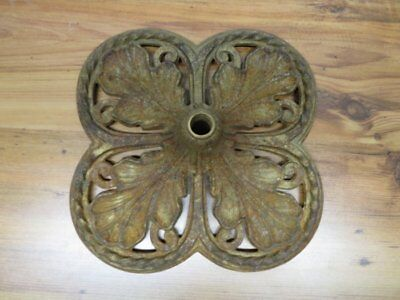 Vintage Art Deco Cast Iron Bridge Lamp Base In A Leaf Pattern With Twisted Iron/