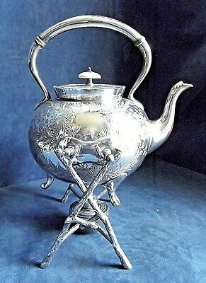 SUPERB Large ~ SILVER Plated ~ Bulbous KETTLE on Stand ~ c1900 by James Deakin