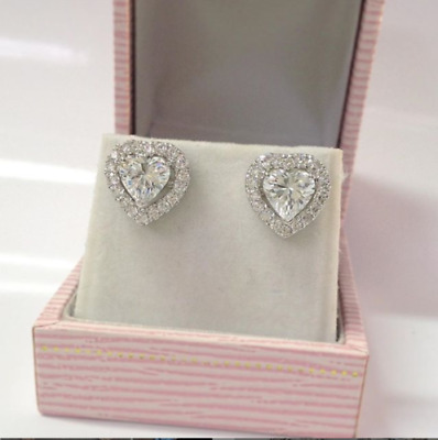 Valentine's Day 2Ct Heart Shape Diamond Halo Earring Stud 14K White Gold Over
