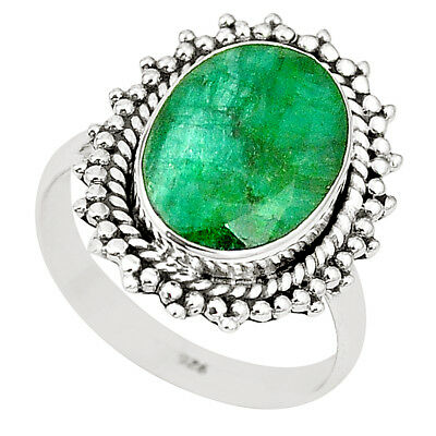 Natural Green Emerald 925 Sterling Silver Ring Jewelry Size 8 M40478