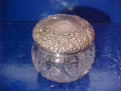 Early 20thc STERLING + CUT GLASS Vanity JAR by UNGER BROTHERS