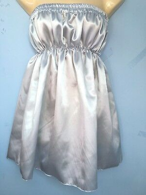 silve satin dress adult baby sissy french maid cosplay chest 36-52 free knickers