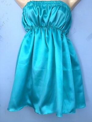 aqua satin dress adult baby sissy french maid cosplay chest 36-52 free knickers