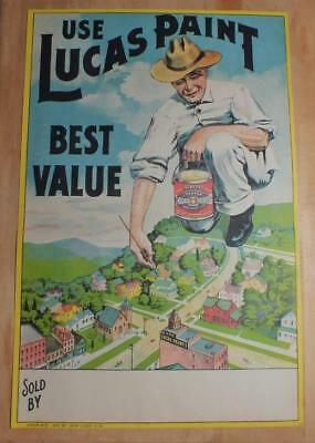 "Antique Lithographed Advertising Poster ""use Lucas Paint""  1904"