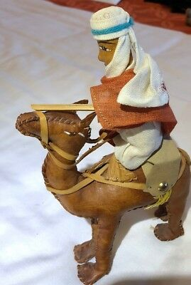 Vintage Hand Stitched Leather Camel/Rider Figure, Excellent 1974 TOP Quality
