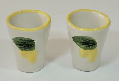 2 Toschi Pottery Italy Limoncello Lemoncello Cups Shot Glasses New