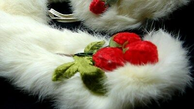 ADORABLE LITTLE GIRLS VINTAGE WHITE FUR MUFF COLLAR & MATCHING HAT w STRAWBERRYS