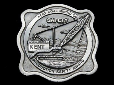 MB15138 VINTAGE 1970s **KENT COAL MINING CO.** PRODUCTION SAFETY AWARD BUCKLE