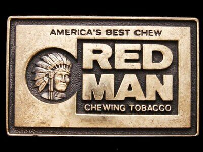IJ05160 NICE VINTAGE 1970s BTS **RED MAN CHEWING TOBACCO** SOLID BRASS BUCKLE