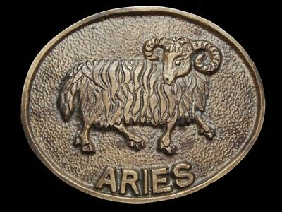 NB09149 VINTAGE 1970s **ARIES** SOLID BRASS ASTROLOGY BELT BUCKLE