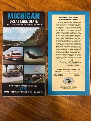 Vintage 1974 Michigan Great Lake State Official Transportation Map